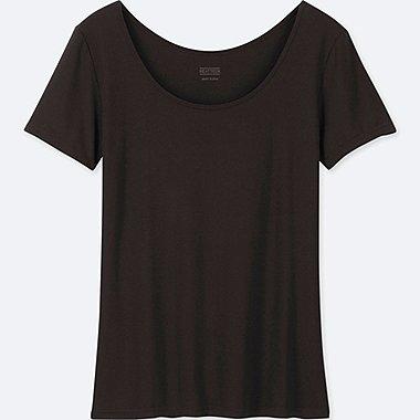 WOMEN HEATTECH SCOOP NECK T-SHIRT, BLACK, medium