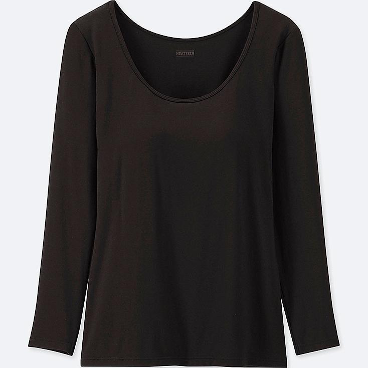 WOMEN HEATTECH BRA SCOOP NECK T-SHIRT, BLACK, large