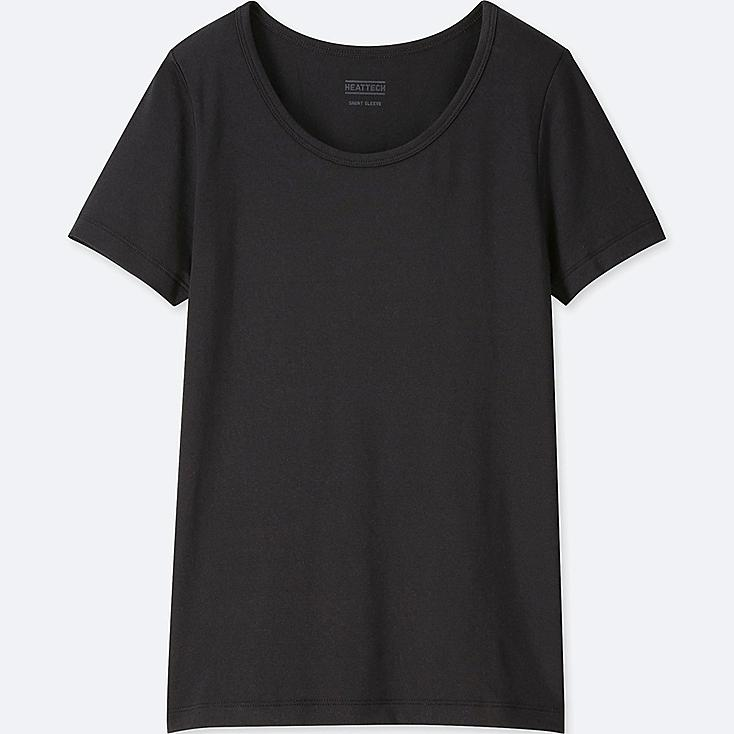 KIDS HEATTECH U-NECK SHORT-SLEEVE T-SHIRT, BLACK, large