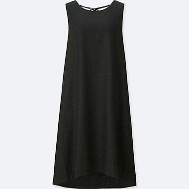 c321bf601b WOMEN LINEN BLEND SLEEVELESS DRESS