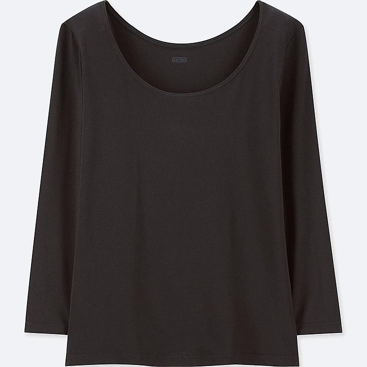 WOMEN HEATTECH SCOOP NECK LONG-SLEEVE T-SHIRT, BLACK, large