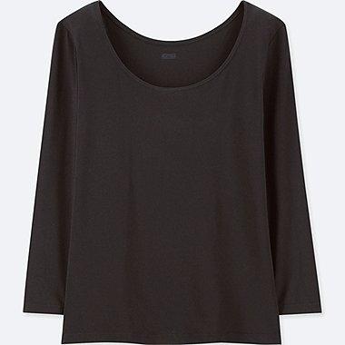WOMEN HEATTECH SCOOP NECK LONG-SLEEVE T-SHIRT, BLACK, medium