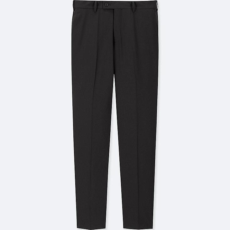 MEN STRETCH WOOL FLAT-FRONT PANTS (ONLINE EXCLUSIVE), BLACK, large
