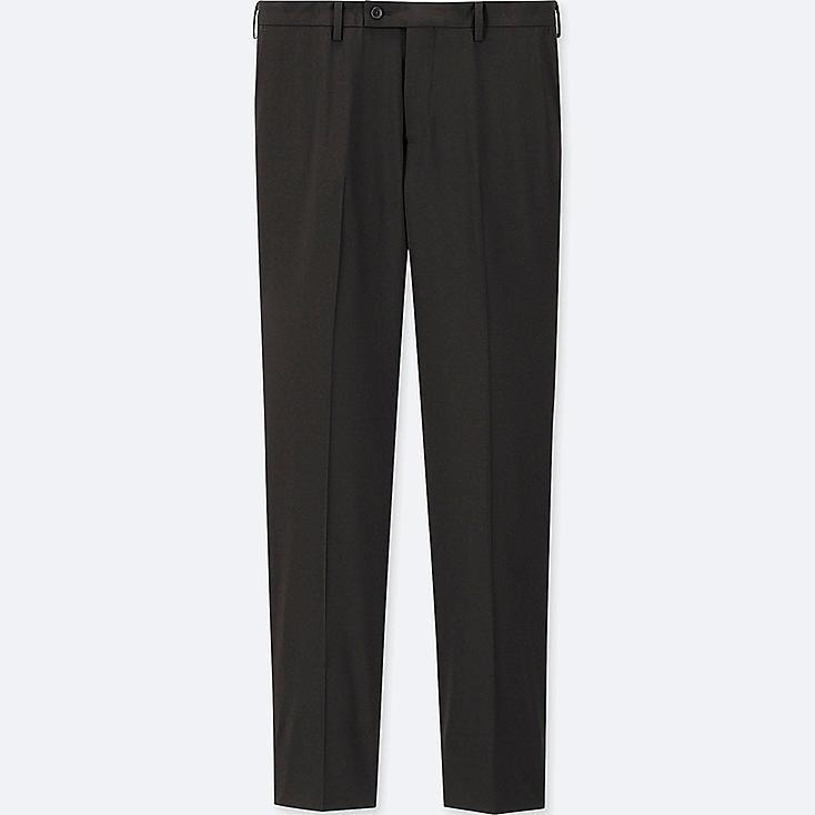 MEN STRETCH WOOL SLIM-FIT FLAT-FRONT PANTS, BLACK, large