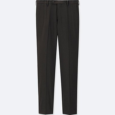 MEN STRETCH WOOL SLIM-FIT FLAT-FRONT PANTS, BLACK, medium
