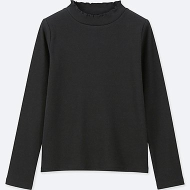 GIRLS RIBBED FRILL HIGH NECK LONG SLEEVE T-SHIRT