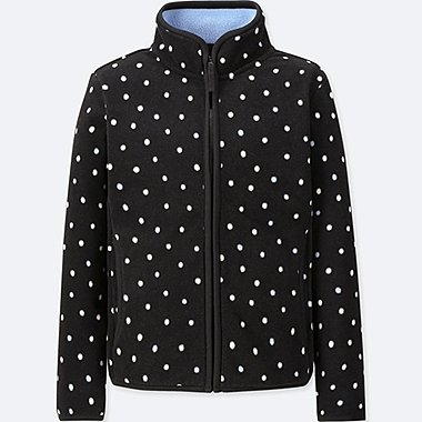 GIRLS FLEECE POLKA DOT ZIPPED JACKET