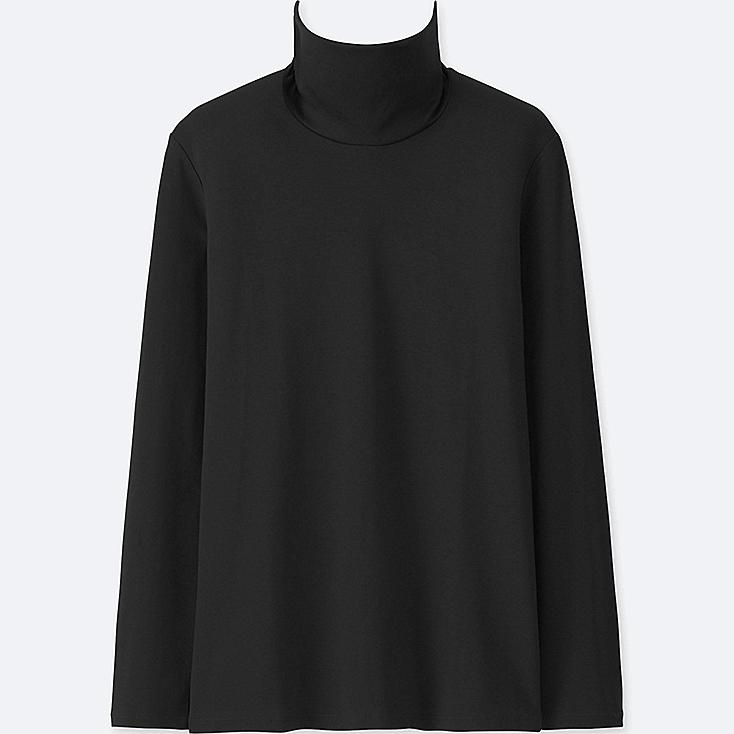 WOMEN COMPACT COTTON TURTLENECK LONG-SLEEVE T-SHIRT, BLACK, large