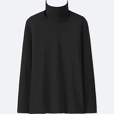 WOMEN COMPACT COTTON TURTLENECK LONG-SLEEVE T-SHIRT, BLACK, medium