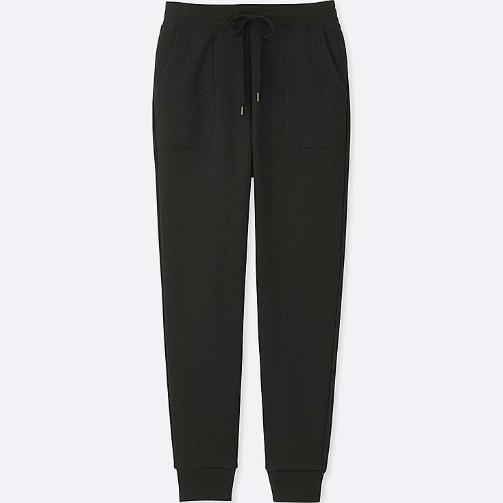 WOMEN PILE-LINED SWEATPANTS, BLACK, large