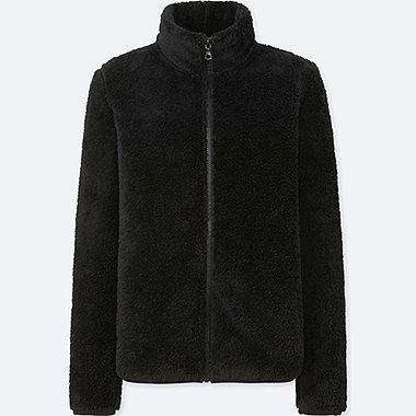 WOMEN FLUFFY YARN FLEECE FULL-ZIP JACKET, BLACK, medium