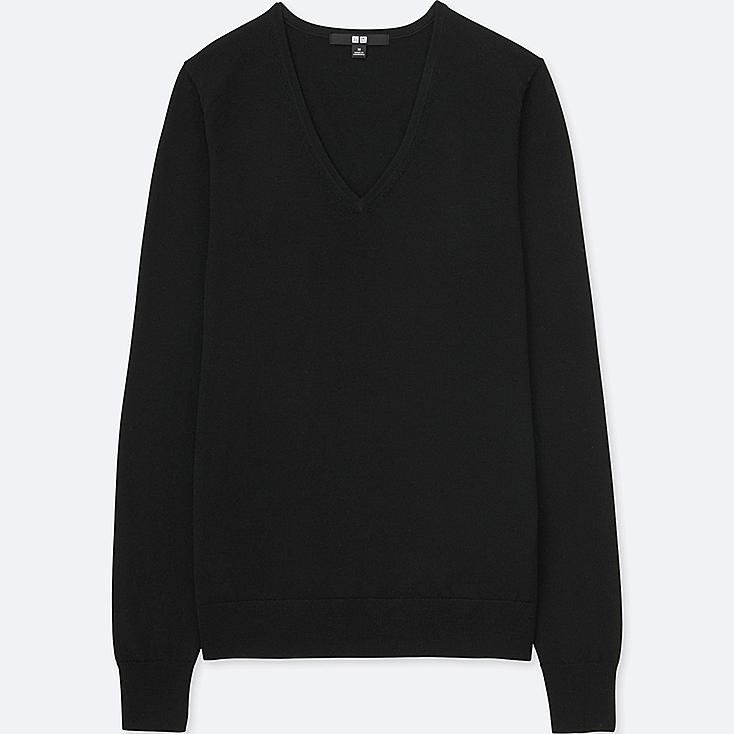 WOMEN EXTRA FINE MERINO V-NECK SWEATER, BLACK, large