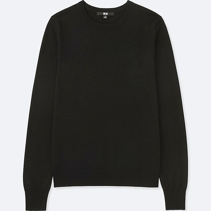 WOMEN EXTRA FINE MERINO CREW NECK SWEATER, BLACK, large