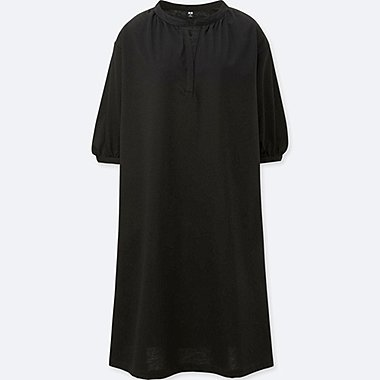 WOMEN MERCERIZED COTTON GATHERED 3/4 SLEEVE DRESS