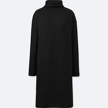 WOMEN SOFT KNITTED FLEECE LONG-SLEEVE DRESS, BLACK, medium
