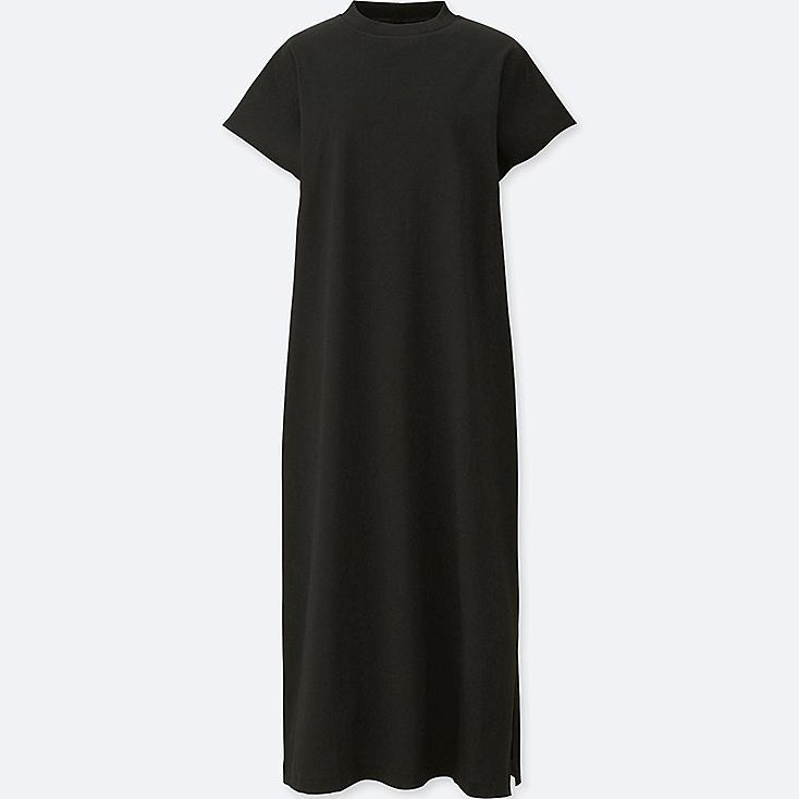 WOMEN MERCERIZED FRENCH SLEEVE DRESS, BLACK, large