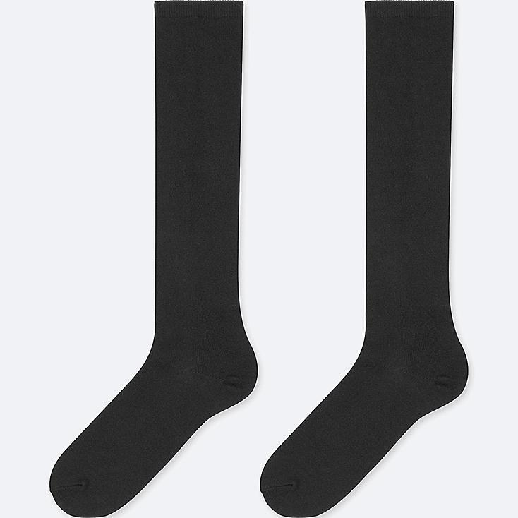WOMEN HEATTECH KNEE HIGH SOCKS (2 PAIRS), BLACK, large