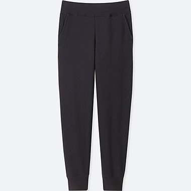 WOMEN ULTRA STRETCH LOUNGE RIBBED PANTS, BLACK, medium