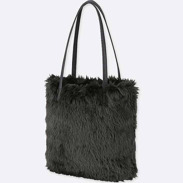 FAUX SHEARLING TOTE BAG, BLACK, large