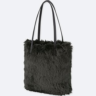 FAUX SHEARLING TOTE BAG, BLACK, medium