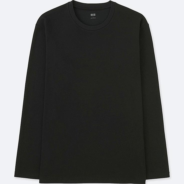 MEN SOFT TOUCH CREW NECK LONG-SLEEVE T-SHIRT, BLACK, large