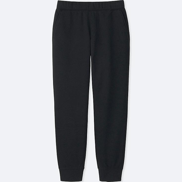 MEN WINDPROOF FLEECE PANTS, BLACK, large