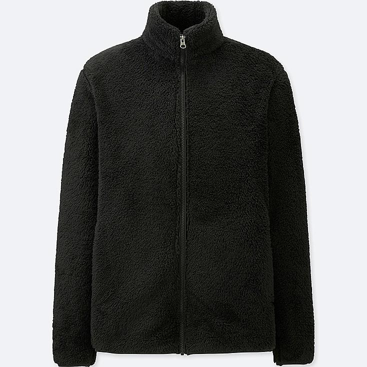 MEN FLUFFY YARN FLEECE FULL-ZIP JACKET, BLACK, large