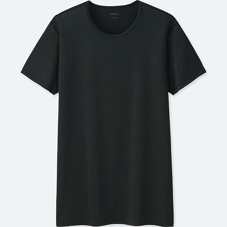 MEN AIRism CREW NECK SHORT-SLEEVE T-SHIRT, BLACK, large