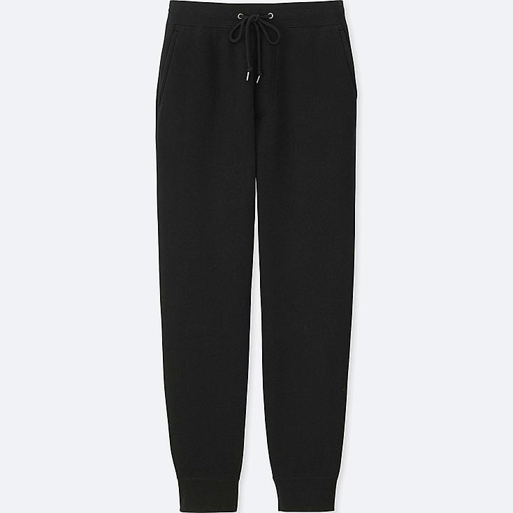 MEN PILE-LINED SWEATPANTS, BLACK, large