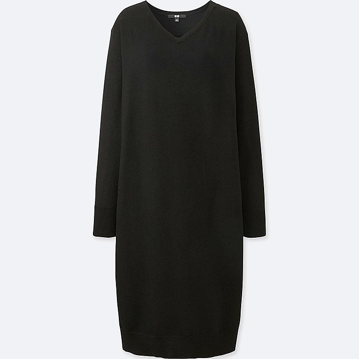 WOMEN MERINO-BLEND V-NECK LONG-SLEEVE DRESS, BLACK, large