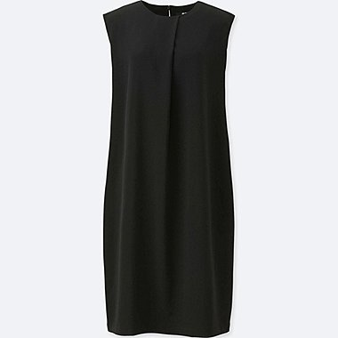 WOMEN DRAPE SLEEVELESS DRESS