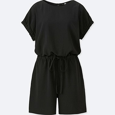 WOMEN DRAPE SHORT SLEEVED PLAYSUIT