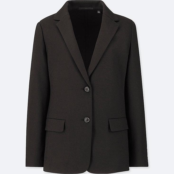 WOMEN WOOL-BLEND JACKET (ONLINE EXCLUSIVE), BLACK, large