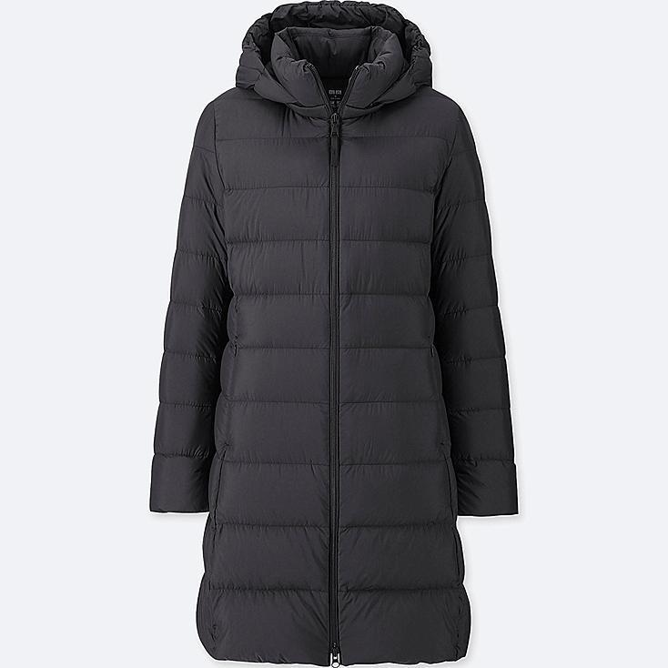 WOMEN ULTRA LIGHT DOWN HOODED COAT, BLACK, large