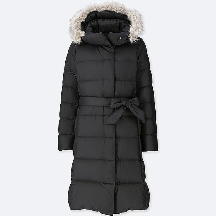 WOMEN LIGHTWEIGHT DOWN HOODED COAT, BLACK, large