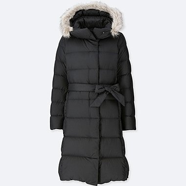 WOMEN LIGHTWEIGHT DOWN HOODED COAT, BLACK, medium