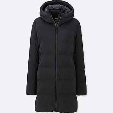 WOMEN SEAMLESS DOWN HOODED SHORT COAT