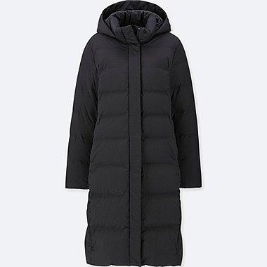 WOMEN SEAMLESS DOWN LONG COAT, BLACK, medium