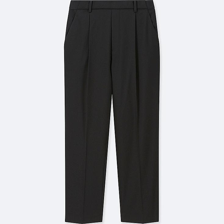 WOMEN EZY TUCKED ANKLE-LENGTH PANTS, BLACK, large