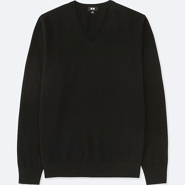 MEN CASHMERE V-NECK LONG-SLEEVE SWEATER, BLACK, large