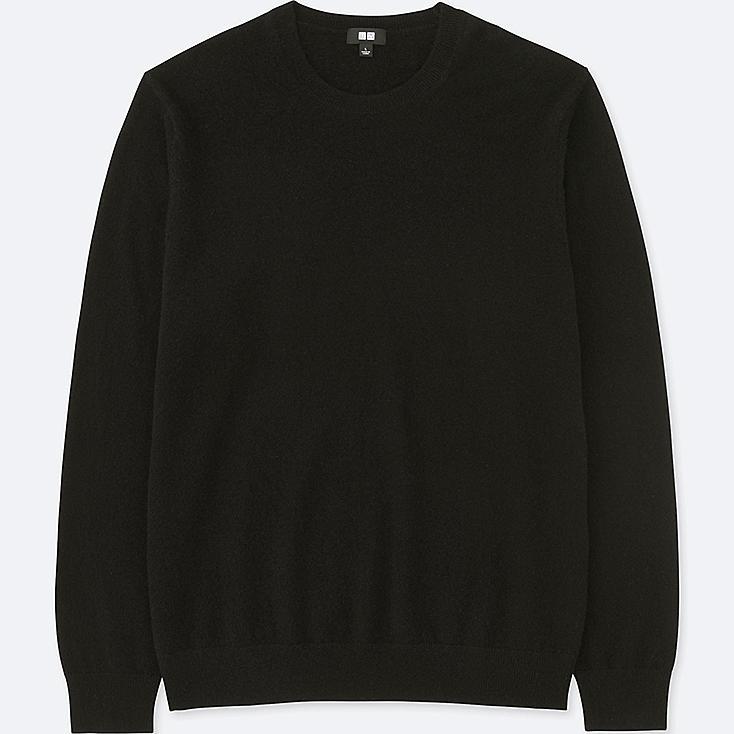 MEN CASHMERE CREW NECK LONG-SLEEVE SWEATER, BLACK, large