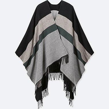 MULTI-COLOR BLOCK 2-WAY STOLE, BLACK, medium