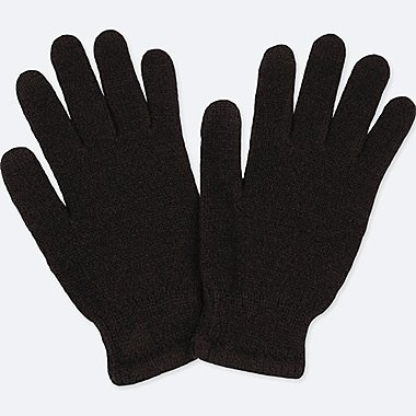 KIDS HEATTECH KNITTED GLOVES, BLACK, medium