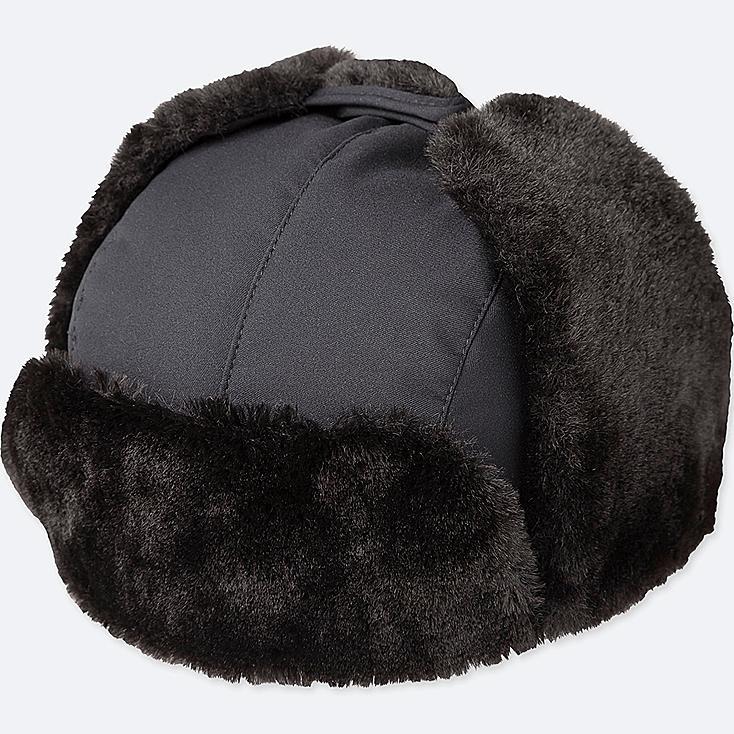 KIDS FLEECE-LINED WINDPROOF CAP, BLACK, large