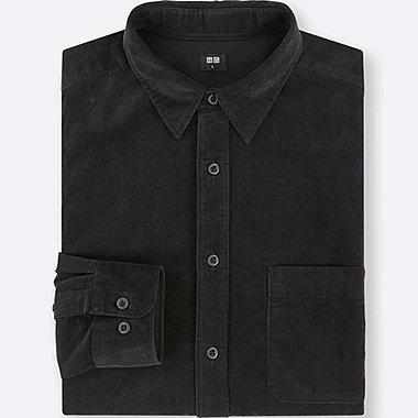 MEN CORDUROY LONG-SLEEVE SHIRT, BLACK, medium