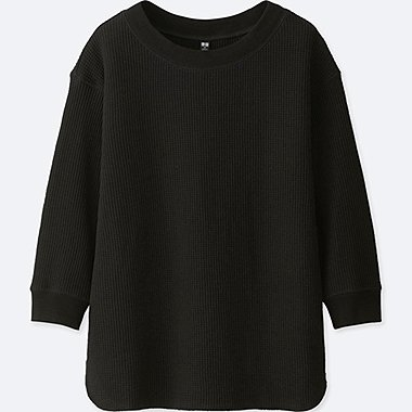 WOMEN WAFFLE CREW NECK 3/4 SLEEVE T-SHIRT, BLACK, medium