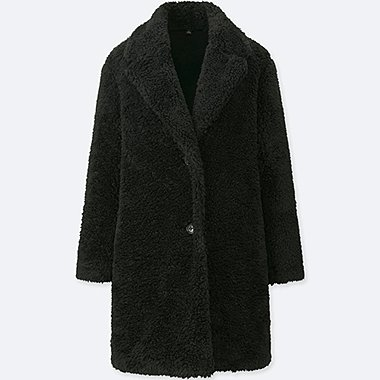 WOMEN PILE-LINED FLEECE LONG-SLEEVE TAILORED COAT, BLACK, medium