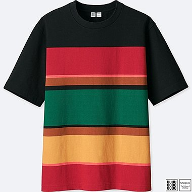 MEN U STRIPED SHORT-SLEEVE T-SHIRT, BLACK, medium