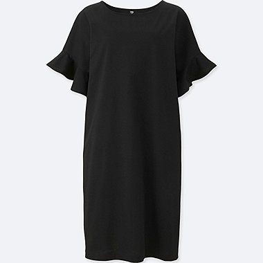 WOMEN MERCERISED COTTON FRILLED SLEEVED DRESS