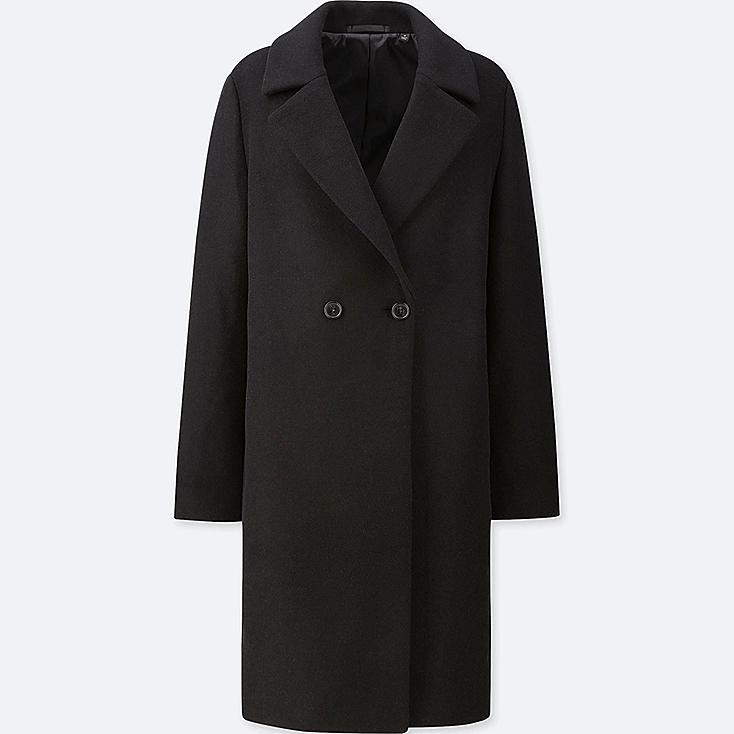 WOMEN LIGHTWEIGHT WOOL-BLEND TAILORED COAT, BLACK, large